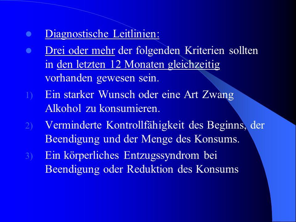 F 10.2 Abhängigkeitssyndrom: Es handelt sich um eine Gruppe körperlicher, Verhaltens- und kognitiver Phänomene, bei denen der Konsum des Alkohols für