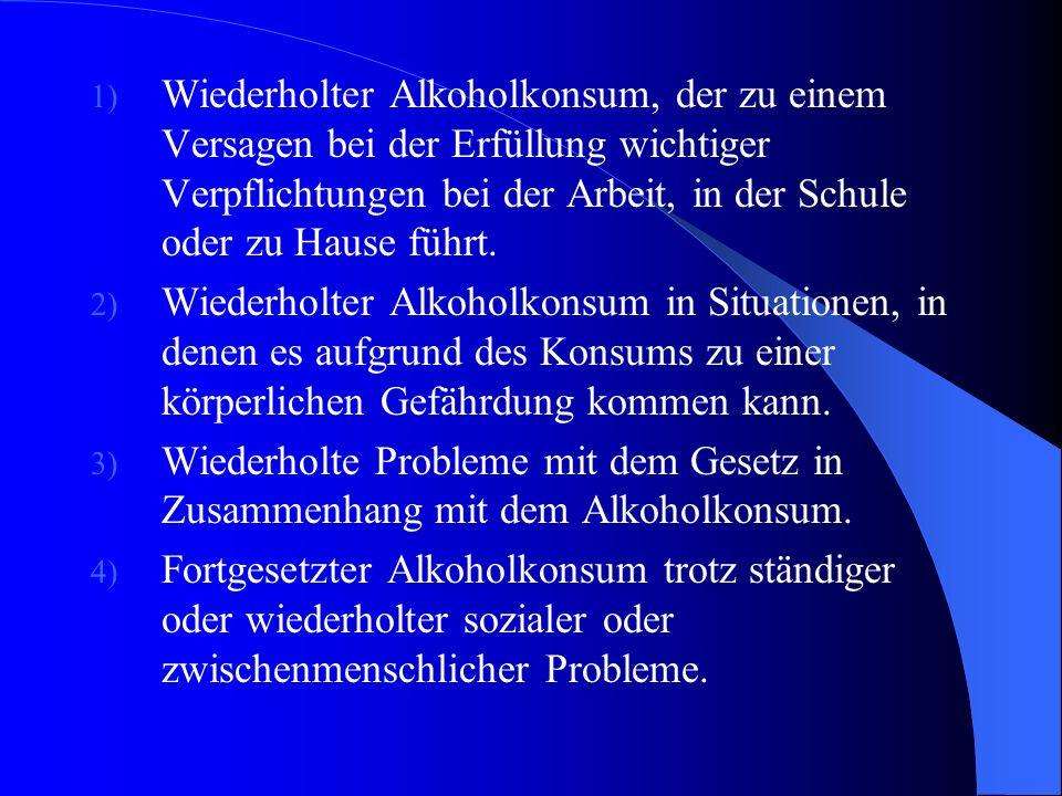 DSM-IV: Störungen durch Substanzkonsum F10.1 (305.00) : Alkoholmissbrauch: A. Ein unangepasstes Muster von Alkoholkonsum führt in klinisch bedeutsamer