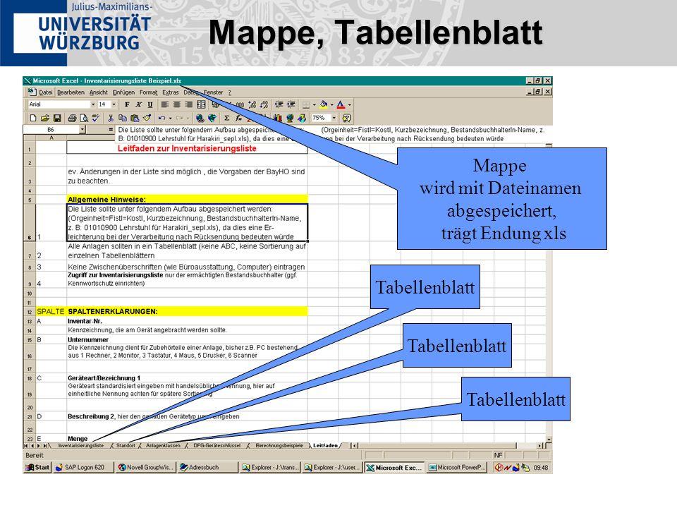 Mappe, Tabellenblatt Tabellenblatt Mappe wird mit Dateinamen abgespeichert, trägt Endung xls Tabellenblatt