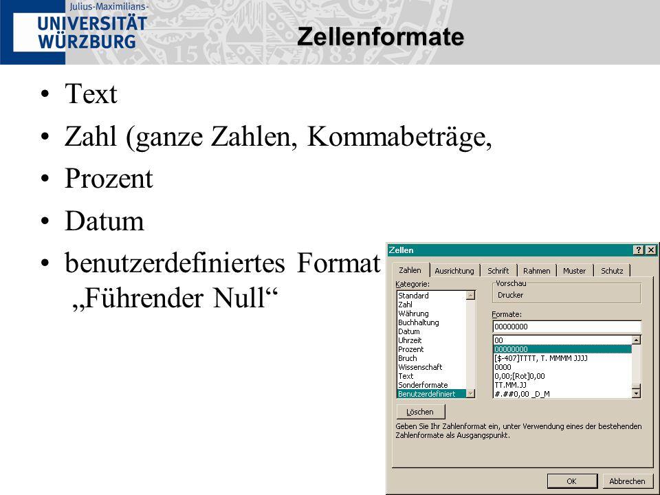 Zellenformate Text Zahl (ganze Zahlen, Kommabeträge, Prozent Datum benutzerdefiniertes Format : Führender Null