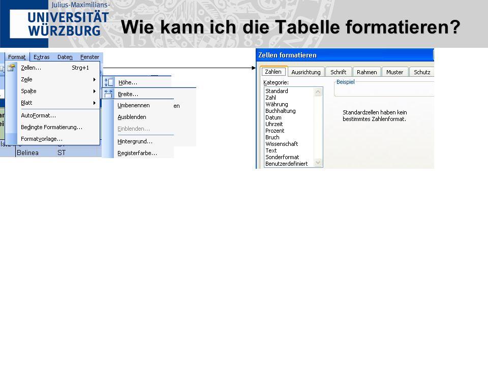 Wie kann ich die Tabelle formatieren?