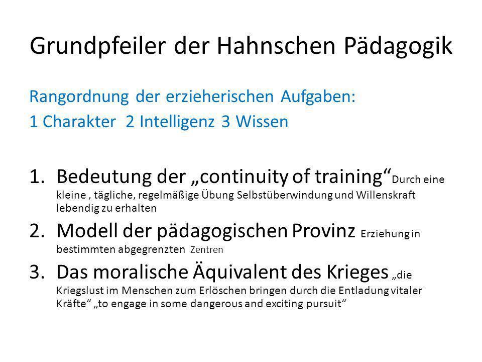 Grundpfeiler der Hahnschen Pädagogik Rangordnung der erzieherischen Aufgaben: 1 Charakter 2 Intelligenz 3 Wissen 1.Bedeutung der continuity of trainin