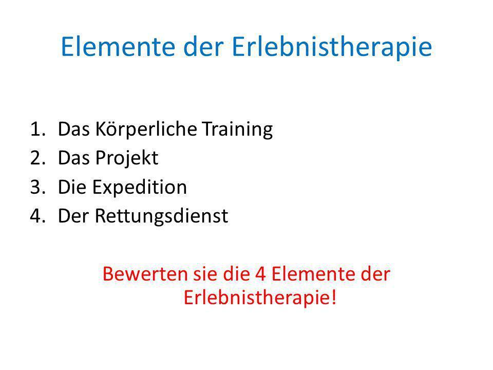 Elemente der Erlebnistherapie 1.Das Körperliche Training 2.Das Projekt 3.Die Expedition 4.Der Rettungsdienst Bewerten sie die 4 Elemente der Erlebnist