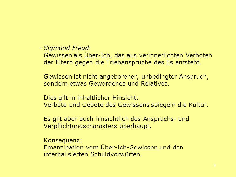 9 -Sigmund Freud: Gewissen als Über-Ich, das aus verinnerlichten Verboten der Eltern gegen die Triebansprüche des Es entsteht. Gewissen ist nicht ange