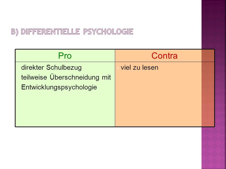 ProContra direkter Schulbezug teilweise Überschneidung mit Entwicklungspsychologie viel zu lesen