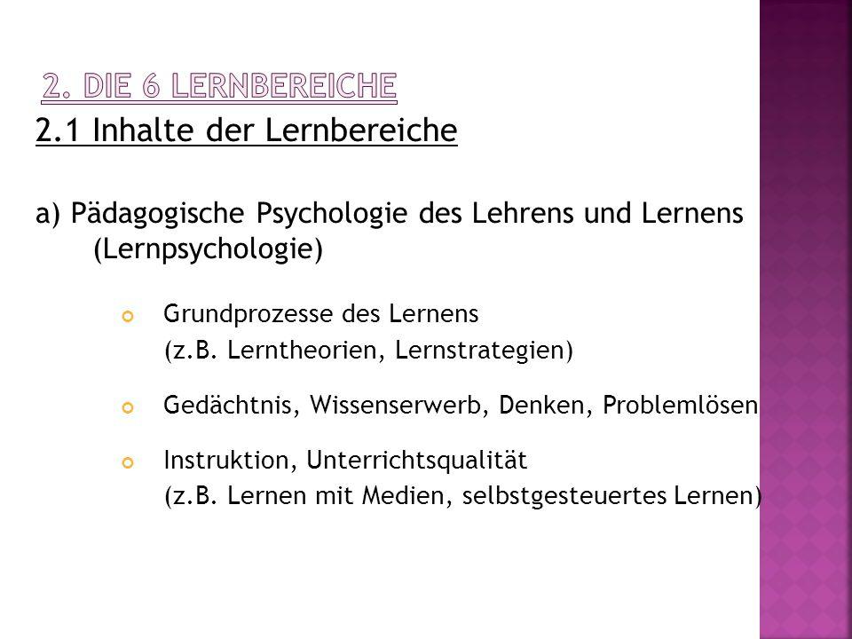 2.1 Inhalte der Lernbereiche a) Pädagogische Psychologie des Lehrens und Lernens (Lernpsychologie) Grundprozesse des Lernens (z.B. Lerntheorien, Lerns