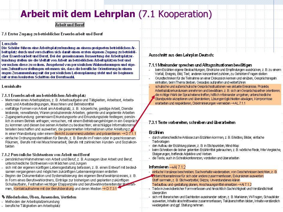 (7.1 Kooperation) Arbeit mit dem Lehrplan (7.1 Kooperation)