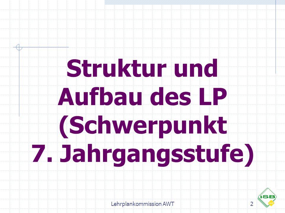 Struktur und Aufbau des LP (Schwerpunkt 7. Jahrgangsstufe) 2Lehrplankommission AWT