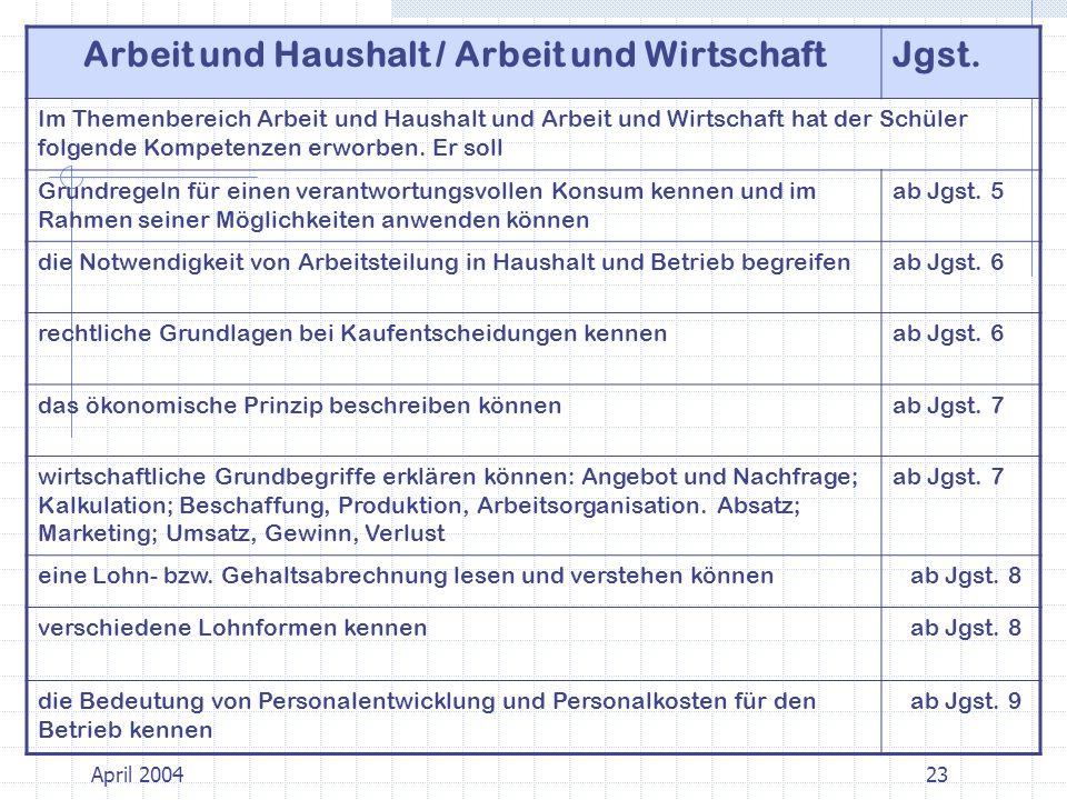Arbeit und Haushalt / Arbeit und WirtschaftJgst.
