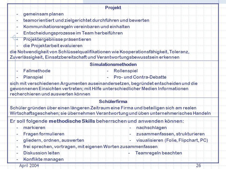 Projekt - gemeinsam planen - teamorientiert und zielgerichtet durchführen und bewerten - Kommunikationsregeln vereinbaren und einhalten - Entscheidungsprozesse im Team herbeiführen - Projektergebnisse präsentieren - die Projektarbeit evaluieren die Notwendigkeit von Schlüsselqualifikationen wie Kooperationsfähigkeit, Toleranz, Zuverlässigkeit, Einsatzbereitschaft und Verantwortungsbewusstsein erkennen Simulationsmethoden - Fallmethode - Rollenspiel - Planspiel - Pro- und Contra-Debatte sich mit verschiedenen Argumenten auseinandersetzen, begründet entscheiden und die gewonnenen Einsichten vertreten; mit Hilfe unterschiedlicher Medien Informationen recherchieren und auswerten können Schülerfirma Schüler gründen über einen längeren Zeitraum eine Firma und beteiligen sich am realen Wirtschaftsgeschehen; sie übernehmen Verantwortung und üben unternehmerisches Handeln Er soll folgende methodische Skills beherrschen und anwenden können: - markieren - nachschlagen - Fragen formulieren - zusammenfassen, strukturieren - gliedern, ordnen, auswerten - visualisieren (Folie, Flipchart, PC) - frei sprechen, vortragen, mit eigenen Worten zusammenfassen - Diskussion leiten - Teamregeln beachten - Konflikte managen 26April 2004