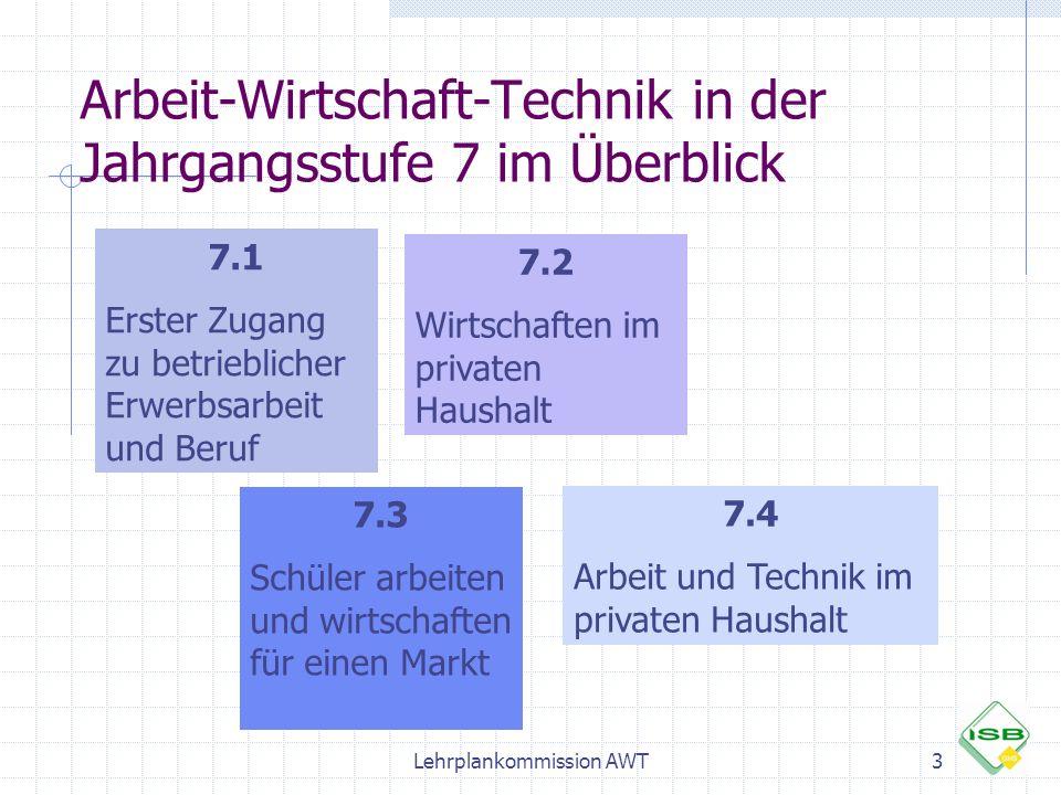 Arbeit-Wirtschaft-Technik in der Jahrgangsstufe 7 im Überblick 7.1 Erster Zugang zu betrieblicher Erwerbsarbeit und Beruf 7.2 Wirtschaften im privaten