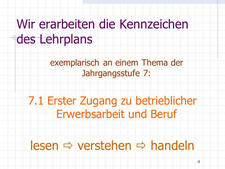 Wir erarbeiten die Kennzeichen des Lehrplans exemplarisch an einem Thema der Jahrgangsstufe 7: 7.1 Erster Zugang zu betrieblicher Erwerbsarbeit und Beruf lesen verstehen handeln 4
