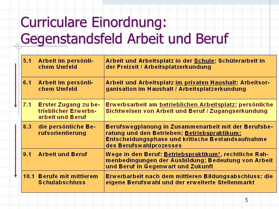 Curriculare Einordnung: Gegenstandsfeld Arbeit und Beruf 5