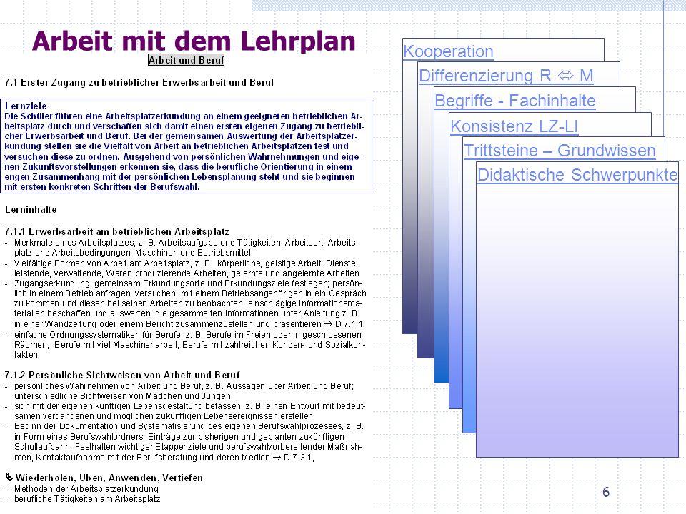 Arbeit mit dem Lehrplan Kooperation Differenzierung R M Begriffe - Fachinhalte Konsistenz LZ-LI Trittsteine – Grundwissen Didaktische Schwerpunkte 6