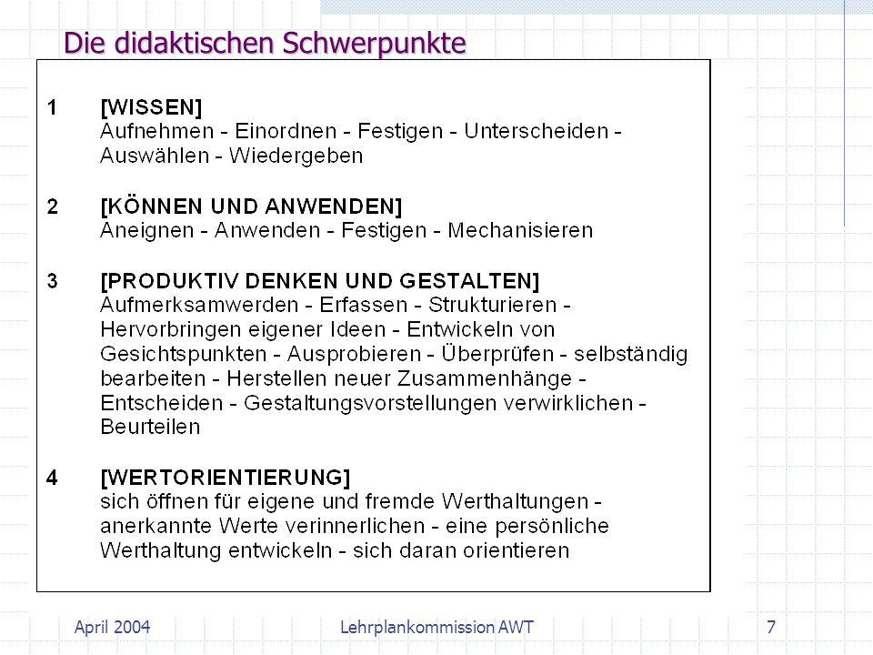 Die didaktischen Schwerpunkte 7Lehrplankommission AWTApril 2004