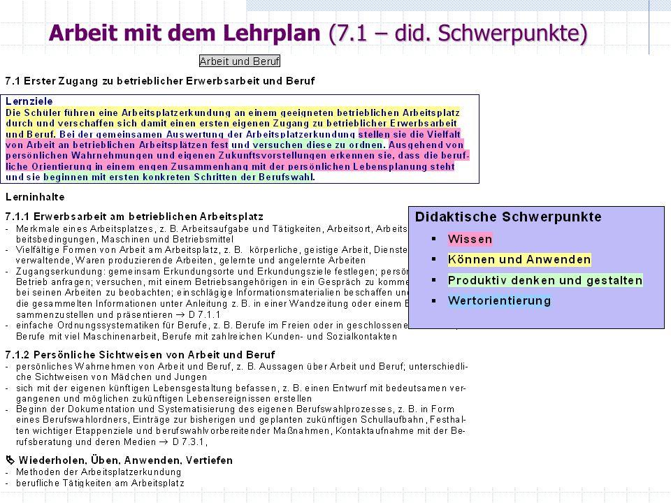 (7.1 – did. Schwerpunkte) Arbeit mit dem Lehrplan (7.1 – did. Schwerpunkte)