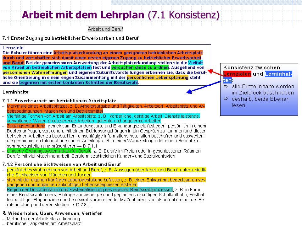 (7.1 Fachbegriffe) Arbeit mit dem Lehrplan (7.1 Fachbegriffe)