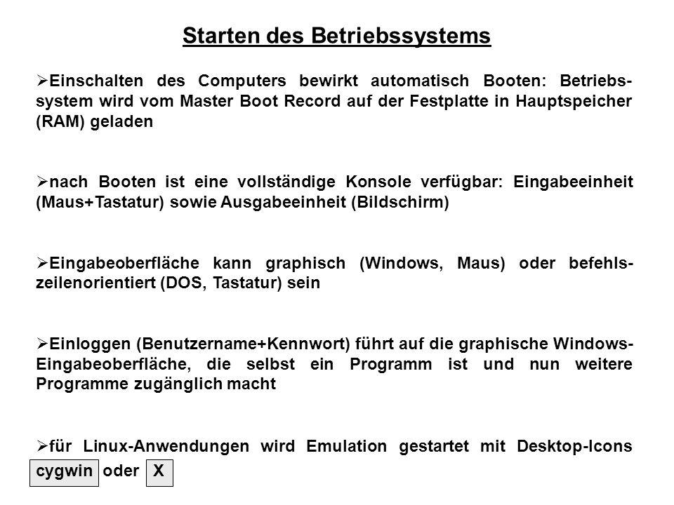 Starten des Betriebssystems Einschalten des Computers bewirkt automatisch Booten: Betriebs- system wird vom Master Boot Record auf der Festplatte in H