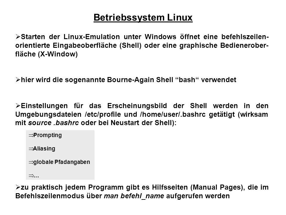 Betriebssystem Linux Starten der Linux-Emulation unter Windows öffnet eine befehlszeilen- orientierte Eingabeoberfläche (Shell) oder eine graphische B