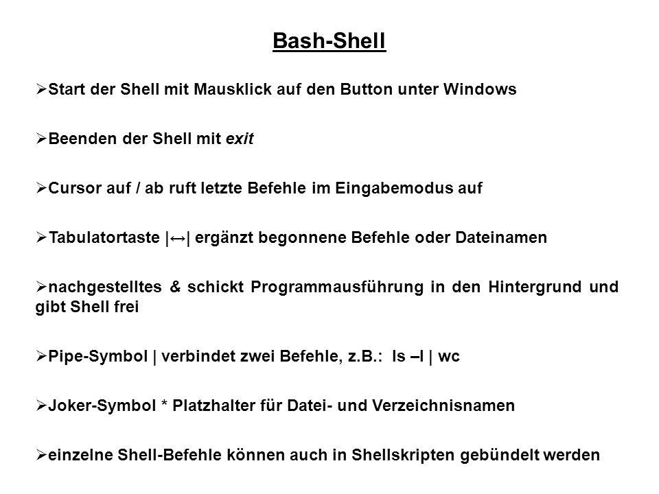 Bash-Shell Start der Shell mit Mausklick auf den Button unter Windows Beenden der Shell mit exit Cursor auf / ab ruft letzte Befehle im Eingabemodus a