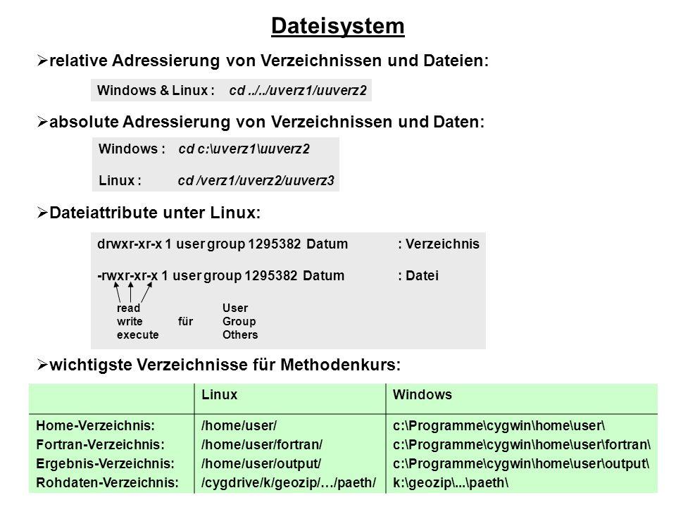 relative Adressierung von Verzeichnissen und Dateien: absolute Adressierung von Verzeichnissen und Daten: Dateiattribute unter Linux: wichtigste Verze