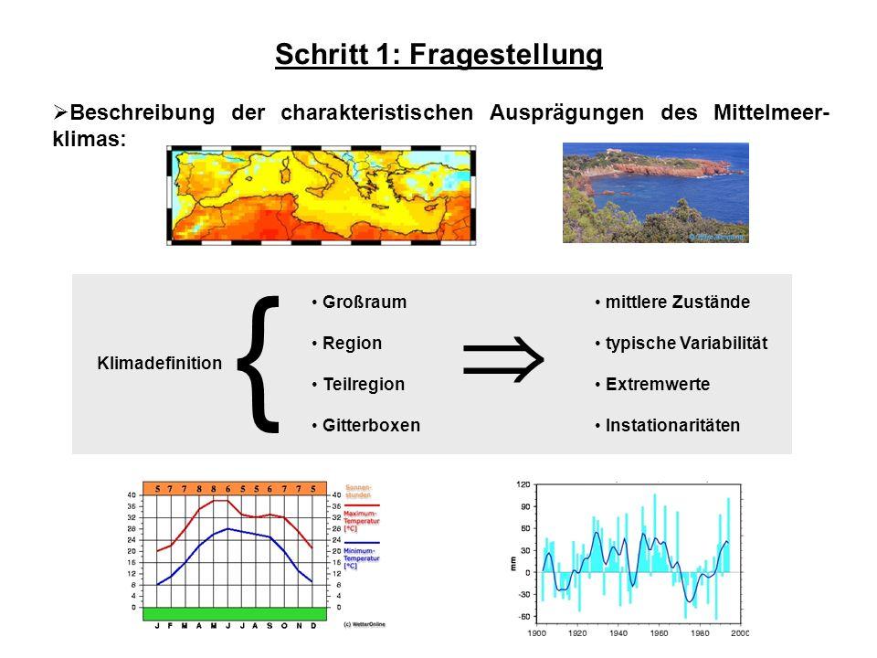 Schritt 1: Fragestellung Beschreibung der charakteristischen Ausprägungen des Mittelmeer- klimas: mittlere Zustände typische Variabilität Extremwerte