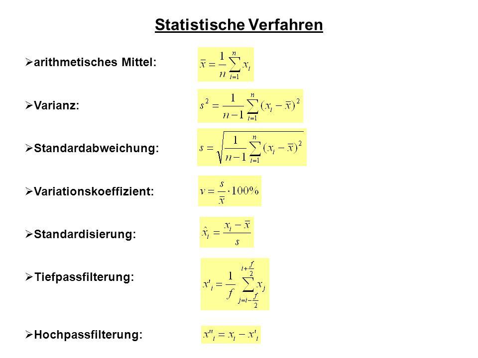 Statistische Verfahren arithmetisches Mittel: Varianz: Standardabweichung: Variationskoeffizient: Standardisierung: Tiefpassfilterung: Hochpassfilteru