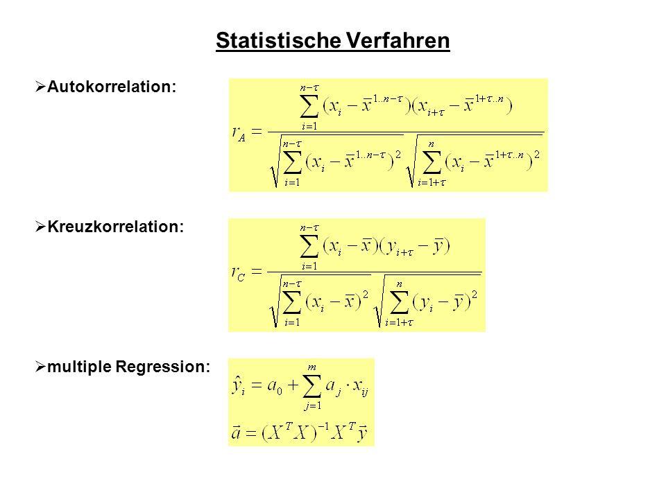 Statistische Verfahren Autokorrelation: Kreuzkorrelation: multiple Regression: