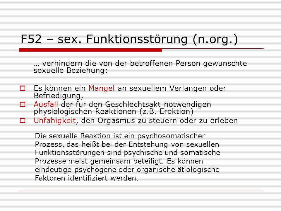 F52.5 - nicht-organischer Vaginismus Es handelt sich dabei um: einen Spasmus (Verkrampfung), der die Vagina umgebenden Beckenboden-muskulatur betrifft, wodurch der Introitus vaginae (Scheidenmuskel) verschlossen wird.