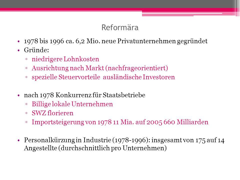 Reformära 1978 bis 1996 ca. 6,2 Mio. neue Privatunternehmen gegründet Gründe: niedrigere Lohnkosten Ausrichtung nach Markt (nachfrageorientiert) spezi