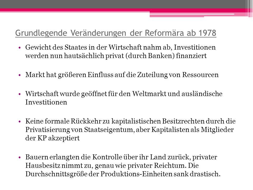 Grundlegende Veränderungen der Reformära ab 1978 Gewicht des Staates in der Wirtschaft nahm ab, Investitionen werden nun hautsächlich privat (durch Ba