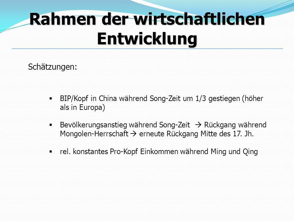 Schätzungen: Rahmen der wirtschaftlichen Entwicklung BIP/Kopf in China während Song-Zeit um 1/3 gestiegen (höher als in Europa) Bevölkerungsanstieg wä