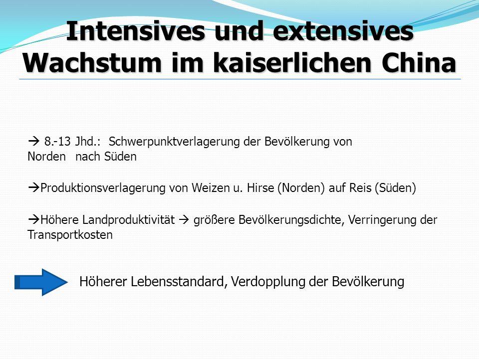 Intensives und extensives Wachstum im kaiserlichen China 8.-13 Jhd.: Schwerpunktverlagerung der Bevölkerung von Norden nach Süden Produktionsverlageru