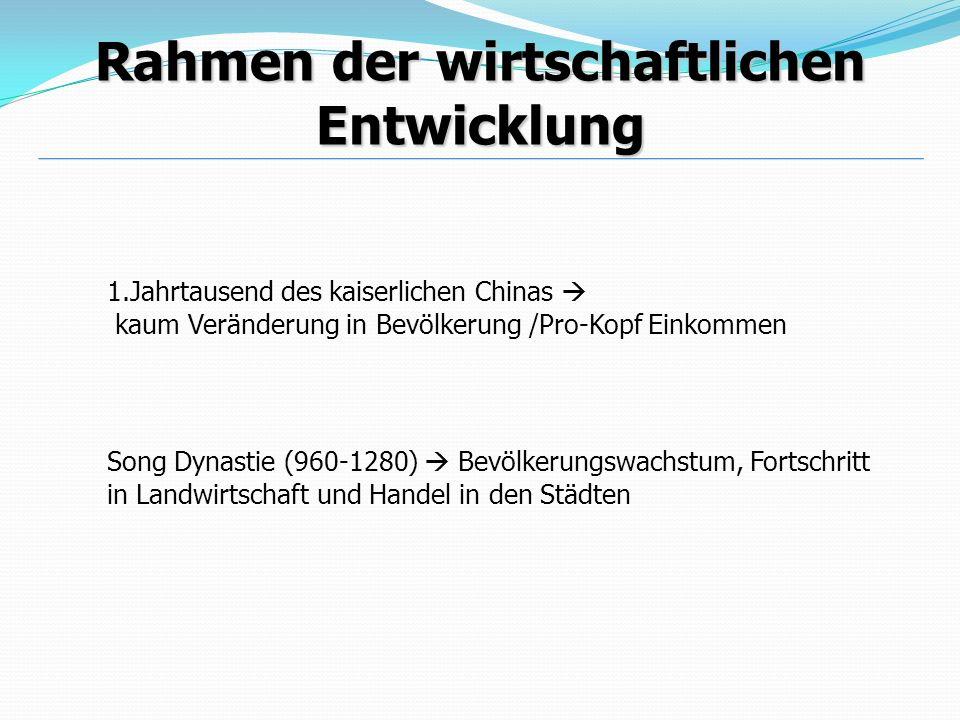 Rahmen der wirtschaftlichen Entwicklung 1.Jahrtausend des kaiserlichen Chinas kaum Veränderung in Bevölkerung /Pro-Kopf Einkommen Song Dynastie (960-1