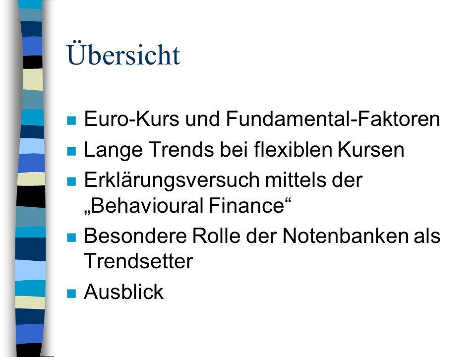 Übersicht n Euro-Kurs und Fundamental-Faktoren n Lange Trends bei flexiblen Kursen n Erklärungsversuch mittels der Behavioural Finance n Besondere Rol