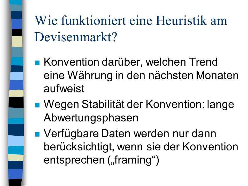 Wie funktioniert eine Heuristik am Devisenmarkt? n Konvention darüber, welchen Trend eine Währung in den nächsten Monaten aufweist n Wegen Stabilität