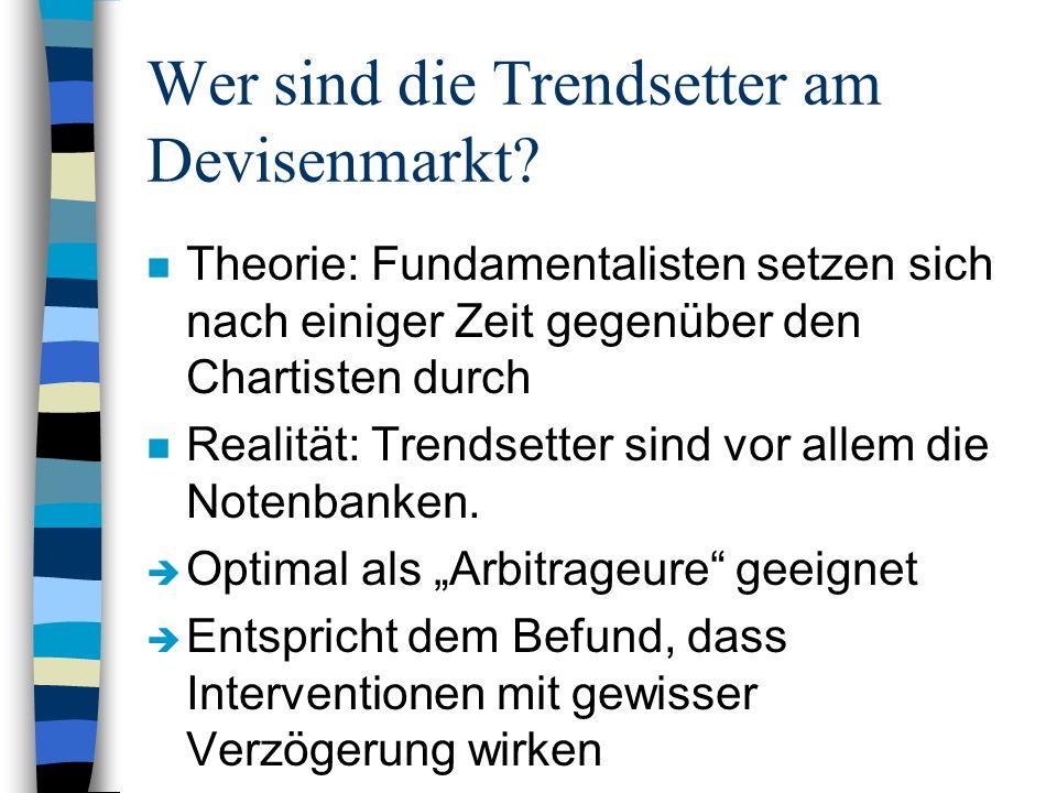 Wer sind die Trendsetter am Devisenmarkt? n Theorie: Fundamentalisten setzen sich nach einiger Zeit gegenüber den Chartisten durch n Realität: Trendse