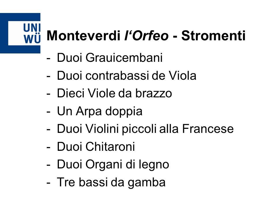 Monteverdi lOrfeo - Stromenti -Duoi Grauicembani -Duoi contrabassi de Viola -Dieci Viole da brazzo -Un Arpa doppia -Duoi Violini piccoli alla Francese