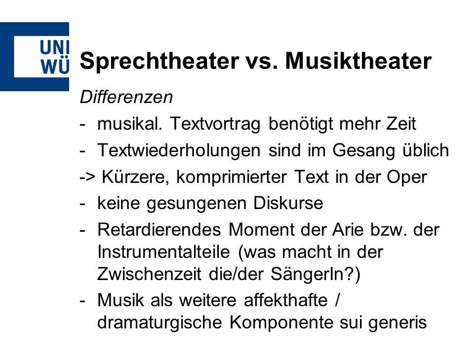 Sprechtheater vs. Musiktheater Differenzen -musikal. Textvortrag benötigt mehr Zeit -Textwiederholungen sind im Gesang üblich -> Kürzere, komprimierte