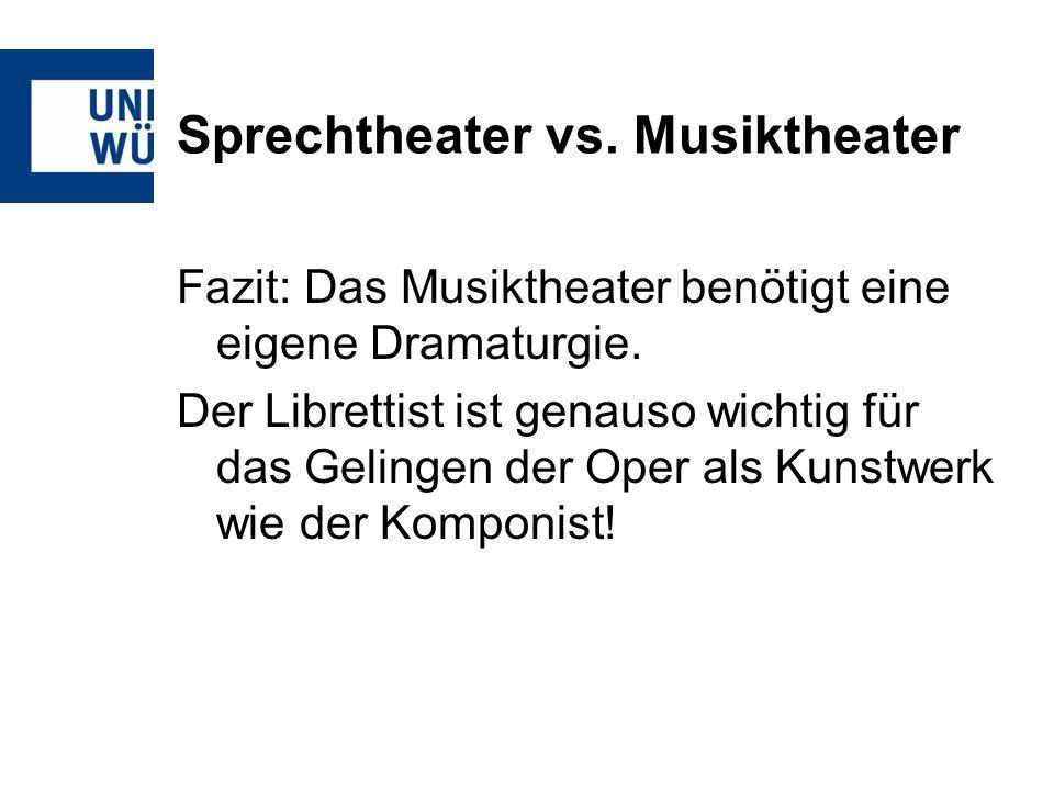 Sprechtheater vs. Musiktheater Fazit: Das Musiktheater benötigt eine eigene Dramaturgie. Der Librettist ist genauso wichtig für das Gelingen der Oper