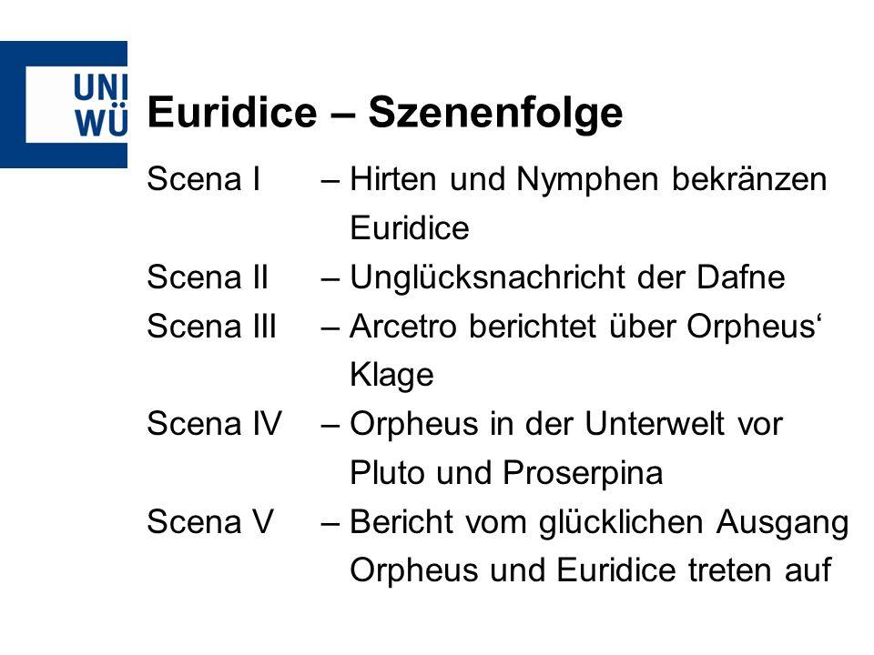 Euridice – Szenenfolge Scena I – Hirten und Nymphen bekränzen Euridice Scena II – Unglücksnachricht der Dafne Scena III– Arcetro berichtet über Orpheu