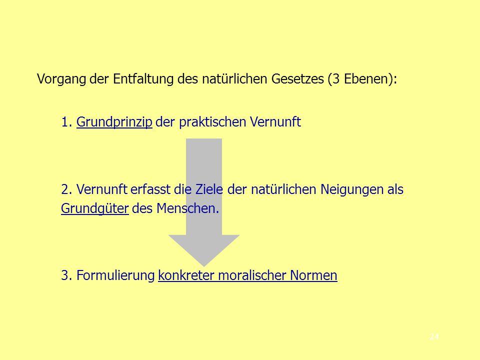 24 Vorgang der Entfaltung des natürlichen Gesetzes (3 Ebenen): 1.