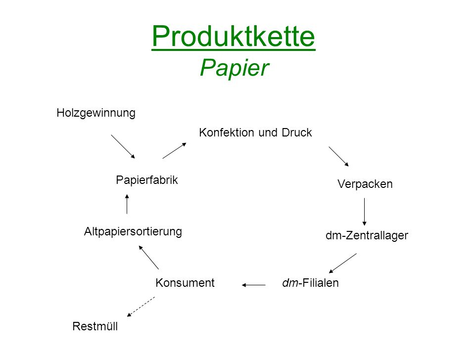 Produktkette Papier Papierfabrik Konfektion und Druck Verpacken dm-Zentrallager dm-FilialenKonsument Altpapiersortierung Holzgewinnung Restmüll