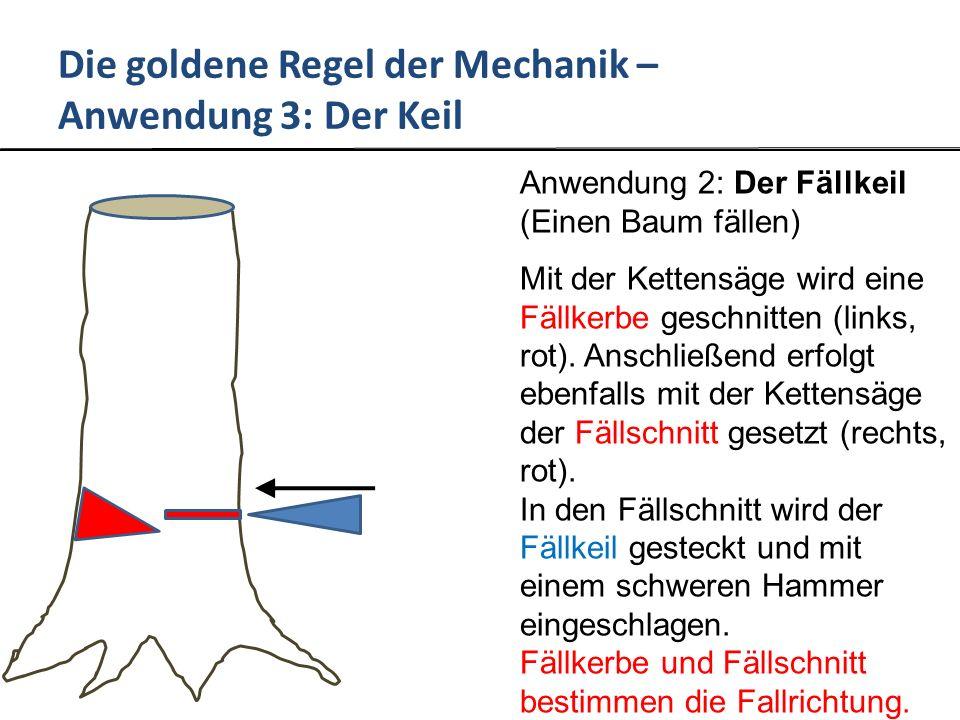 Die goldene Regel der Mechanik – Anwendung 3: Der Keil Anwendung 2: Der Fällkeil (Einen Baum fällen) Mit der Kettensäge wird eine Fällkerbe geschnitten (links, rot).