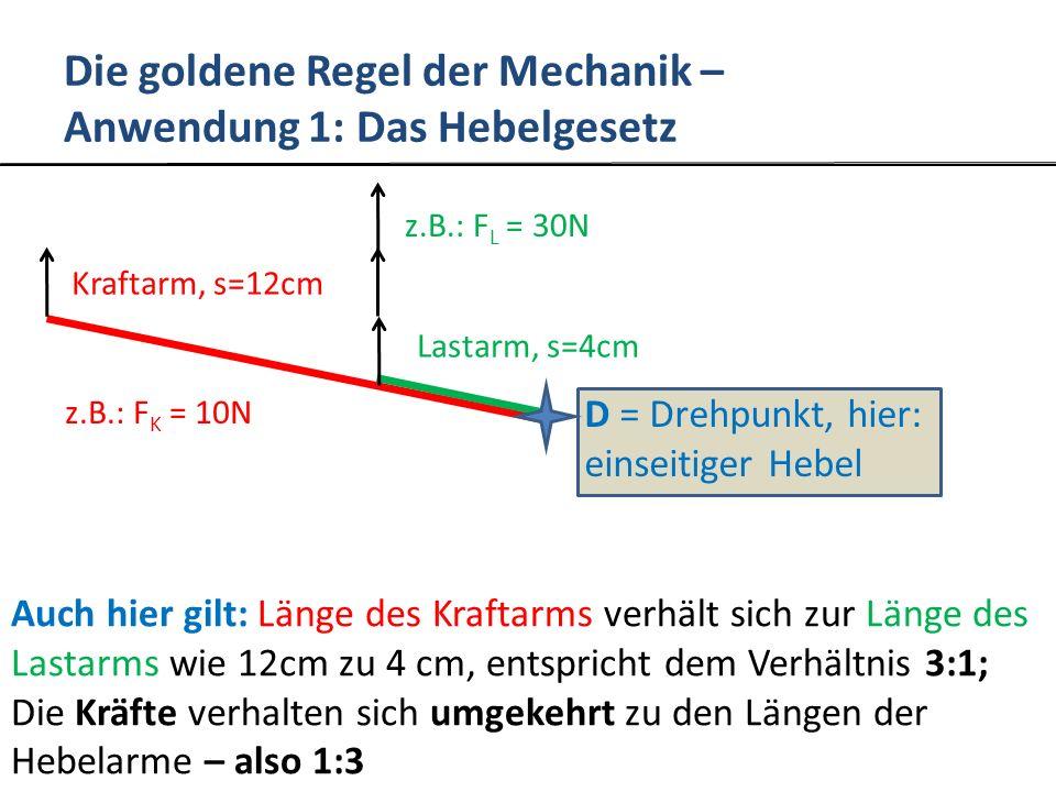 Die goldene Regel der Mechanik – Anwendung 2: Die Spirale Anwendung: z.B.