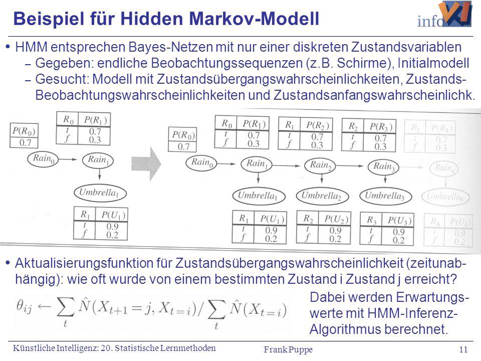 Frank Puppe 11 Künstliche Intelligenz: 20. Statistische Lernmethoden Beispiel für Hidden Markov-Modell HMM entsprechen Bayes-Netzen mit nur einer disk