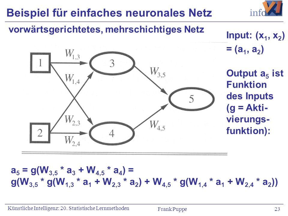 Frank Puppe 23 Künstliche Intelligenz: 20. Statistische Lernmethoden Beispiel für einfaches neuronales Netz vorwärtsgerichtetes, mehrschichtiges Netz