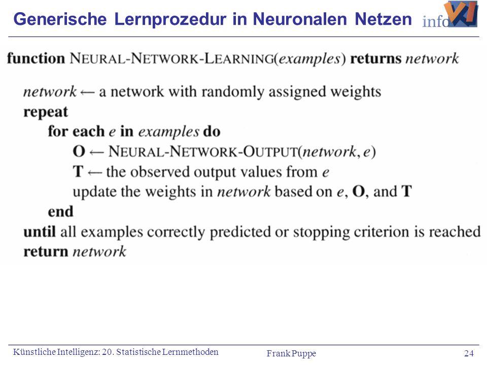 Frank Puppe 24 Künstliche Intelligenz: 20. Statistische Lernmethoden Generische Lernprozedur in Neuronalen Netzen