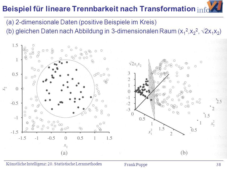 Frank Puppe 38 Künstliche Intelligenz: 20. Statistische Lernmethoden Beispiel für lineare Trennbarkeit nach Transformation (a) 2-dimensionale Daten (p