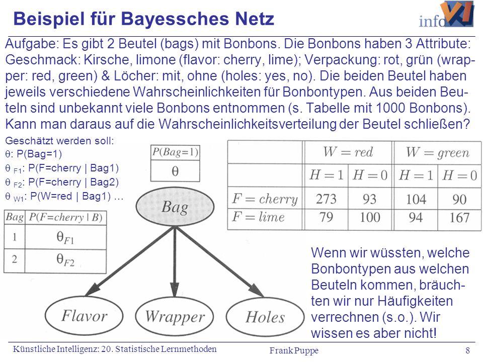 Frank Puppe 8 Künstliche Intelligenz: 20. Statistische Lernmethoden Beispiel für Bayessches Netz Aufgabe: Es gibt 2 Beutel (bags) mit Bonbons. Die Bon
